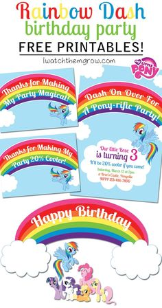 FREE PRINTABLES for a My Little Pony Rainbow Dash birthday party! Invitation, thank you cards/ favor tags and cake toppers or party signs! My Little Pony Party, My Little Pony Rainbow, Fiesta Little Pony, Rainbow Dash Party, Rainbow Dash Birthday, Anniversaire My Little Pony, My Little Pony Invitations, Raimbow Dash, 6th Birthday Parties