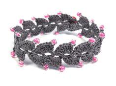 Golden Heart Crafts: Bracelet - Crocheted Grey/Pink Beads, Brooches and Bracelets Golden Heart, Heart Crafts, Crochet Necklace, Beads, Bracelets, Pink, Brooches, Jewelry, Bangle Bracelets