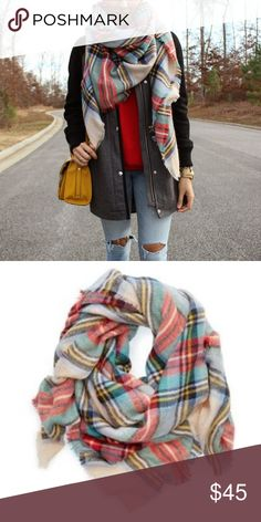 {ae} Plaid Blanket Scarf American Eagle brand multicolor blanket scarf. Material is very warm and cozy, not itchy. Beautiful combination of color. NWOT. Square shape, approx. 4'x4'. American Eagle Outfitters Accessories Scarves & Wraps