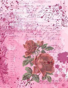 Vintage Shabby Chic, Vintage Roses, Vintage Style, Vintage Fashion, Journal 3, Journal Pages, Journal Ideas, Scrapbook Background, Mail Art