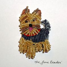 YORKIE w/ RED COLLAR Beaded Yorkshire Terrier dog by thelonebeader, $95.00