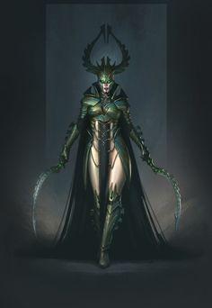 Dark Queen by Denis Rybchak Fantasy Concept Art, Fantasy Character Design, Dark Fantasy Art, Character Concept, Character Inspiration, Character Art, Fantasy Female Warrior, Fantasy Armor, Medieval Fantasy