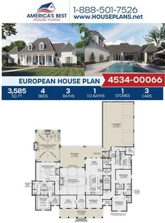 Look forward to pool days with this stunning European design! Plan 4534-00066 features 3,585 sq. ft., 4 bedrooms, 3.5 bathrooms, a mud room, a covered porch, an office concept, and a bonus room. Visit our website for more information about this European design. #houseplans #newhome #buildahome European Plan, European House Plans, Best House Plans, Home Decor Styles, Cheap Home Decor, Cad Programs, Floor Plan Drawing, Pool Days, Farmhouse Homes