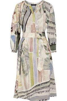 Burberry Prorsum|Printed linen and silk-blend midi dress|NET-A-PORTER.COM