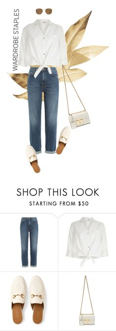 """""""Tried and True"""" by irenaam ❤ liked on Polyvore featuring M.i.h Jeans, River Island, Gucci, Ray-Ban and WardrobeStaples"""