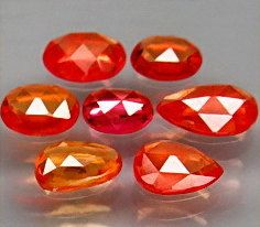 Natural Sapphires 6 x 4 to 5 x 3 MM Orange Rose Cut by SilverFound, $39.50
