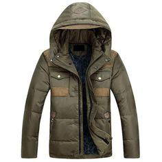 Men's Casual Goose Down Hooded Winter Coat L-3XL 2 Colors