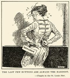 This cartoon was published in Star March 27, 1920 during the time between the 19th Amendment's passing June 4, 1919 and its ratification August 18, 1920. As it was published during this time, it was meant to represent the suffragist's struggle at the end of their struggle for the 19th Amendment.