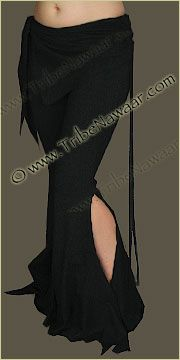 Tribe Nawaar Flared Leg Black Sassy Pants for Tribal Fusion Belly Dance Dark Black Hoop Dance Pants and Solid Black Yoga Pants Gypsy Wear Clothes Burning Man Clothing Burner Pants Raver Gear Firefly Melo Style