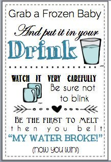 Baby Shower Game Printable My Water Broke Ice