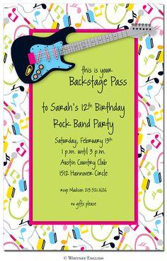 Rock and roll party invite. Festa Rock Roll, Rock N Roll, Rock And Roll Bands, 7th Birthday, Birthday Party Themes, Birthday Invitations, Birthday Ideas, Rock Star Theme, Rock And Roll Birthday