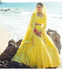 Looking for Offbeat bridal colour lehenga yellow? Browse of latest bridal photos, lehenga & jewelry designs, decor ideas, etc. on WedMeGood Gallery. Indian Bridal Outfits, Indian Bridal Lehenga, Indian Bridal Wear, Indian Dresses, Bridal Dresses, Indian Wear, Indian Beach Wedding, Indian Clothes, Indian Style