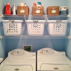 Idéia para gastar menos espaço na lavanderia