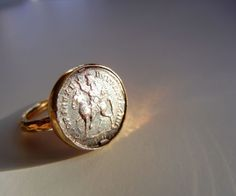 Vintage Gilded Sterling Silver Ring with Ancient Roman Coin - Sz 5 1/4 #Cocktail