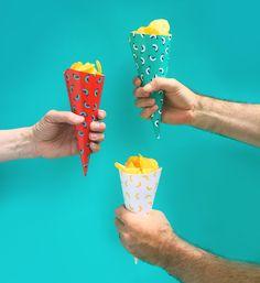 DIY Picnic Party scoop/serve paper cones / downloadable template via happymundane.com