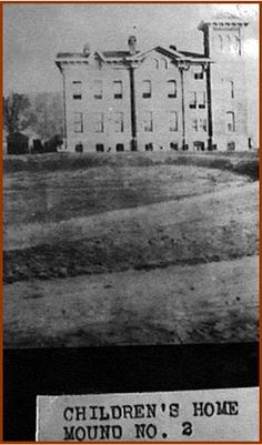 In 1876, the Scioto County Children's Home was built on the present-day mound at Mound Park. The other horseshoe mound on Grant Street was plowed over in 1888 for Highland School. Only the one mound still exists at Mound Park. These horseshoe mounds are attributed to the Hopewell Indians.