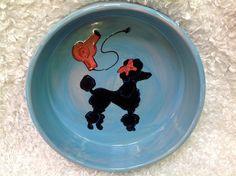 Hand Painted Dog Bowl / Ceramic Dog Bowl / Custom Dog bowl / Dog Pottery / Poodle / Debby Carman / Faux Paw Productions by FauxPawProductions on Etsy