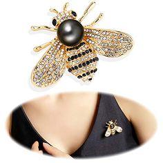 4828ea5b0 Gleamart Honey Bee Brooch Pin Rhinestone Insect Animal Brooches for Girl  Women