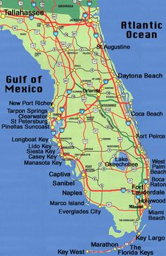 Southeast Florida road map showing main towns, cities and highways ...