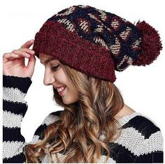 Winter warm knit hat for women roll brim hairball stocking cap