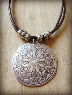Tribal Large Flower Pendant Necklace Leather by sweetfreedomshop