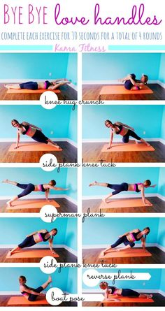 Bye Bye Love Handles Workout by Kama Fitness. Carry out each exercise for 30 seconds, and complete 4 rounds. Fitness Workouts, Kama Fitness, Fitness Diet, At Home Workouts, Fitness Motivation, Health Fitness, Daily Workouts, Hiit, Love Handle Workout