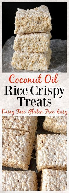 Coconut Oil Rice Crispy Treats. 3 ingredients and 10 minutes until these easy treats are ready! Gluten free, dairy free, and so delicious!! #glutenfree #dessert