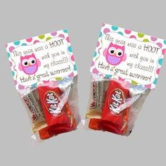 Student End of Year Goodie Bag Toppers - Owl from LilOwlPrints on http://TeachersNotebook.com -  (1 page)  - Owl Goodie Bag Toppers for your students end of the year treat.