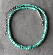 Vintage Southwestern  Carved Green Turquoise Bead Necklace Sterling Ends