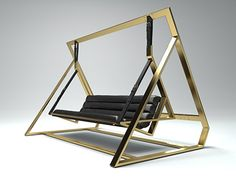 Designed by Alexandre Berthiaume of FUTIL. BANLIEU CHIC is a re-interpretation of the classic amercian garden swing with a bling. All aluminum frame with leather upholstery and leather straps doubled with sublimated polyester webbing. Welded Furniture, Iron Furniture, Dream Furniture, Steel Furniture, Furniture Design, Home Swing, Balcony Grill Design, Swing Table, Stairs And Doors