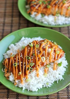 Teriyaki Salmon with Sriracha Cream Sauce - Damn Delicious. This is the one I was looking for!!