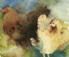 kate osborne Artist Artwork Gallery, Watercolour, animals, chickens, still life