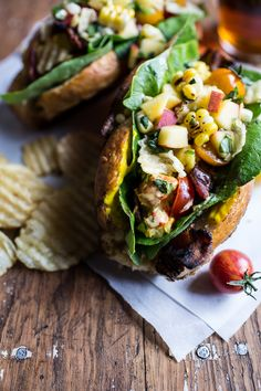 BLT and Potato Chip Lobster Rolls with Peach Salsa
