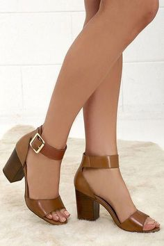 Let us tell you all about the Steve Madden Estoria Cognac Leather Ankle Strap Heels! These gorgeous leather heels have a classy-yet-casual design. Lace Up Heels, Ankle Strap Heels, Ankle Straps, Pumps Heels, Stiletto Heels, High Heels, Tan Heels, Shoes Sandals, Pretty Shoes