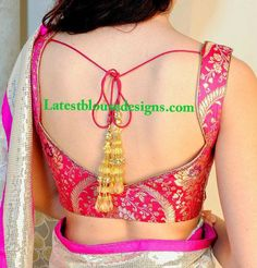 Pink brocade blouse (via Latestblousedesigns) Brocade Blouse Designs, Brocade Blouses, Saree Blouse Neck Designs, Choli Designs, Fancy Blouse Designs, Saree Blouse Patterns, Designer Blouse Patterns, Sleeve Designs, Stylish Blouse Design