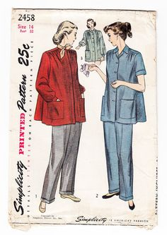 Vintage 1948 Simplicity 2458 Sewing Pattern by SewUniqueClassique, $12.00