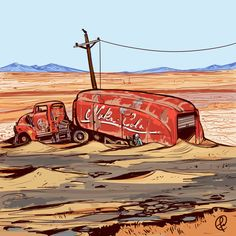 Trying to draw enviroments again Inspired inthe fallout 1 randon encounter The Nuka truck Fallout Fan Art, Fallout Concept Art, Corporate Design, Fallout Nuka Cola, Apocalypse Art, Fall Out 4, Fallout New Vegas, Video Game Art, Video Games