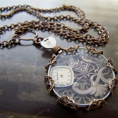 Steampunk, necklace, opital lens, watches, gears, victorian, jewelry