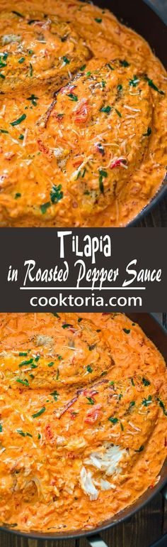 Tilapia in Roast Pepper Cream Sauce! This Tilapia in Roasted Pepper Sauce is absolutely scrumptious, elegant and worthy of a special occasion. You won't believe how easy it is to make it! It's also full of delicious ingredients, and it fits right into natural eating plans such as paleo, low carb, and LCHF. COOKTORIA.COM: