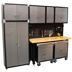 MAXIM HD 9 Piece Standard Garage Storage System W Timber Workbench.  Includes A Heavy Duty
