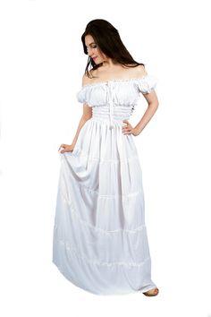 Robe Boho Hippie I-D-D Renaissance paysanne Wench Pirate Faire femmes soleil robe blanc L/XL