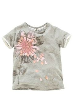Grey Embellished Flower Short Sleeve Top - NextDirect.com Paint Shirts, Flower Graphic, Baby Shirts, Shirts For Girls, Pulls, Kids Girls, Flower Shorts, Girls Sleepwear, Jolies Choses