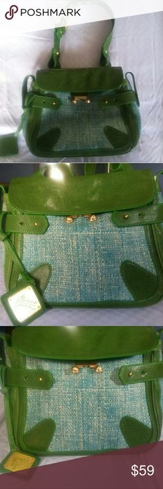"Badgley Mischka Vintage Leather Handbag Vintage Mark & James Badgley Mischka Vintage Leather Handbag  Green Leather Trim Gold Accents Leather Buckle Strap  Green Herringbone Face and Back Zip Pocket Inside Authentic Tags Attached  Magnetic Clasp Closure 8"" D 9"" Drop 4"" W 10""L Badgley Mischka Bags Satchels"