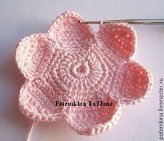 Master class on crochet Lotus Petals. Part 2 - Fair of Masters - handmade, handmade Crochet Flower Patterns, Crochet Motif, Crochet Flowers, Crochet Toys, Leaf Flowers, Sewing Box, Master Class, Lana, Crochet Earrings
