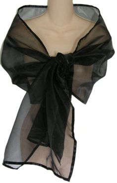 Black Sheer Organza Evening Wrap Shawl for Prom Wedding Bride: Available in single or 6 packs $24.99 - $119.99