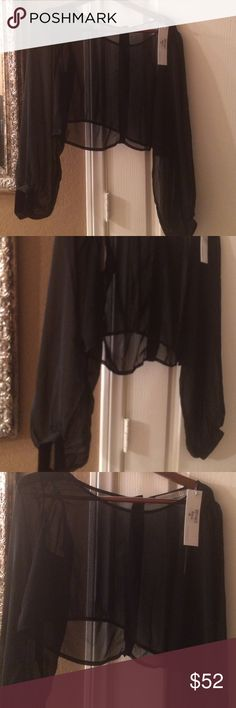 MinkPink Poetic Justice Top Sheer black long sleeve cropped blouse ..  brand new with tags. Actual size is Medium MINKPINK Tops Crop Tops