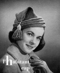 1940s Vintage Hat Pattern Knitting L'Habitant by nostalgiarules