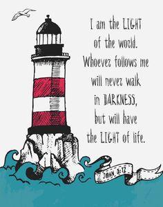 I am the light of the world - John Children's Decor - Kids Room Decor - Nautical Decor - Insta Light Of Life, Light Of The World, The Light, Scripture Art, Bible Art, Bibel Journal, John 8, Bible Verses Quotes, Scriptures