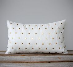 Gold Studded Pillow Cover in Cream Linen 12x20 by JillianReneDecor, $130.00 (I'm sure there's a cheaper option)