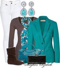 """Turquoise blazer"" by meghanelizabeth13 on Polyvore"